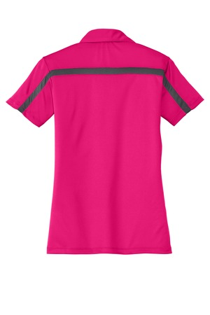 Port Authority Ladies Silk Touch Performance Colorblock Stripe Polo.