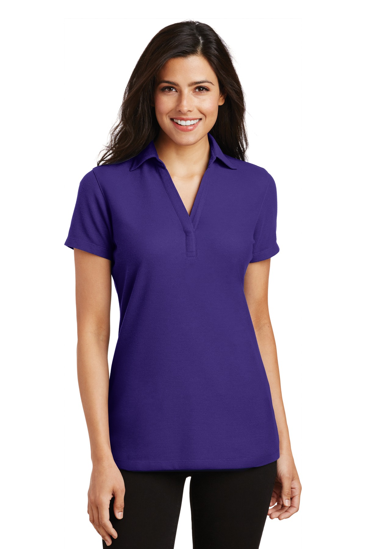 Port Authority Ladies Silk Touch Y-Neck Polo.